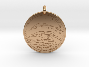 Dolphin Animal Totem Pendant in Polished Bronze
