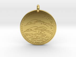 Dolphin Animal Totem Pendant in Polished Brass