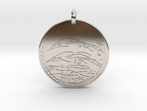 Dolphin Animal Totem Pendant in Rhodium Plated Brass