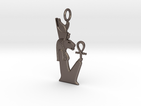 Sekhmet(/Bast)-Mut amulet in Polished Bronzed-Silver Steel