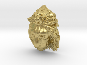 Lion Head Lapel Pin in Natural Brass