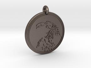 Golden Eagle Animal Totem Pendant in Polished Bronzed-Silver Steel