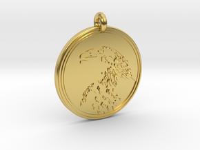 Golden Eagle Animal Totem Pendant in Polished Brass