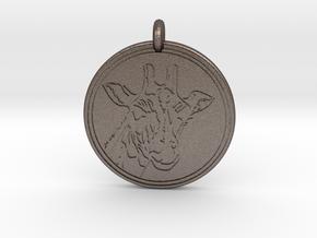 Giraffe Animal Totem Pendant 2 in Polished Bronzed-Silver Steel