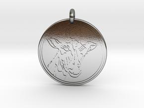 Giraffe Animal Totem Pendant 2 in Polished Silver