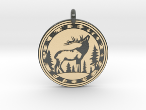Elk Animal Totem Pendant in Glossy Full Color Sandstone