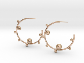 Planet Hoop Earrings  in 14k Rose Gold Plated Brass
