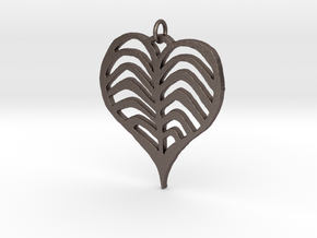 Rib cage Heart Pendant in Polished Bronzed-Silver Steel
