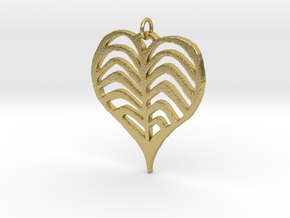 Rib cage Heart Pendant in Natural Brass