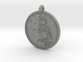 Great Horned Owl Animal Totem Pendant in Gray PA12