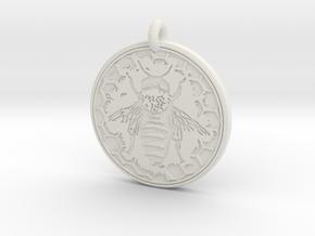 Honey Bee Animal Totem Pendant in White Natural Versatile Plastic