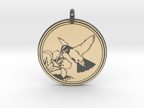 Humming bird Animal Totem Pendant in Glossy Full Color Sandstone