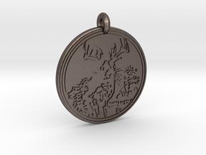 Jackalope Animal Totem Pendant in Polished Bronzed-Silver Steel