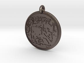 Javelina  Animal Totem Pendant 2 in Polished Bronzed-Silver Steel