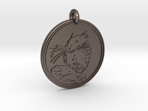 Pika Animal Totem Pendant in Polished Bronzed-Silver Steel