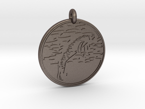Manatee Animal Totem Pendant in Polished Bronzed-Silver Steel