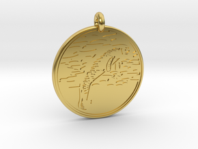Manatee Animal Totem Pendant in Polished Brass