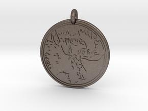 Moose Animal Totem Pendant 2 in Polished Bronzed-Silver Steel