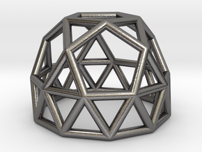 0788 J25 Gyroelongated Pentagonal Rotunda #1 in Polished Nickel Steel