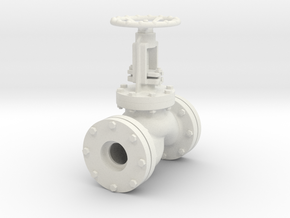 Globe valve 22mm holes scale model in White Natural Versatile Plastic