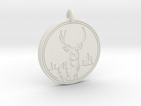 Mule Deer Animal Totem Pendant in White Natural Versatile Plastic