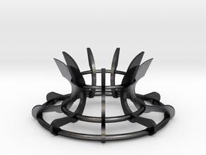 Scimitar Egg Stand Version 2 in Polished and Bronzed Black Steel: Medium