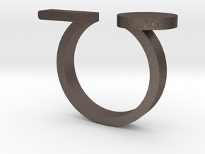 Minimal Line and Circle Ring in Polished Bronzed-Silver Steel: 4.5 / 47.75