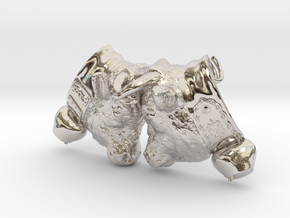 Swiss cow fighting #A - 30mm high in Rhodium Plated Brass
