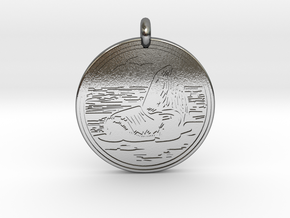 Sea Lion Animal Totem Pendant in Polished Silver