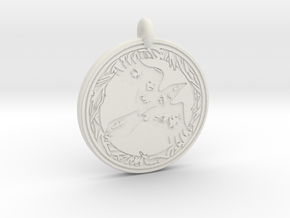 Raven Animal Totem Pendant in White Natural Versatile Plastic