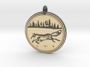Red Fox Animal Totem Pendant in Glossy Full Color Sandstone