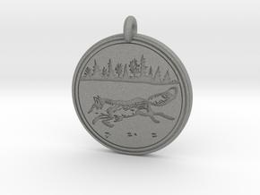 Red Fox Animal Totem Pendant in Gray Professional Plastic