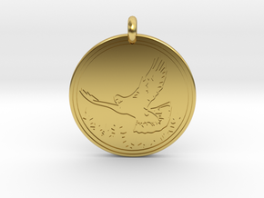 Rock Dove Animal Totem Pendant in Polished Brass