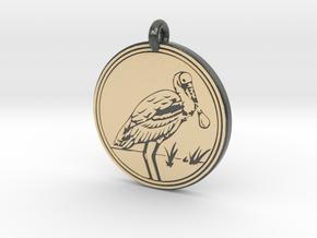 Roseate Spoonbill Animal Totem Pendant in Glossy Full Color Sandstone