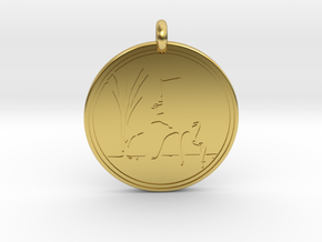 Sandhill Crane Animal Totem Pendant in Polished Brass