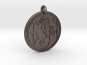 Sea Horse Animal Totem Pendant in Polished Bronzed-Silver Steel