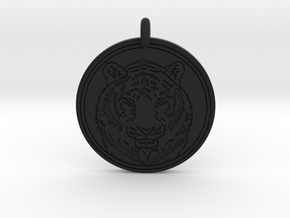 Tiger Animal Totem Pendant 2 in Black Premium Versatile Plastic