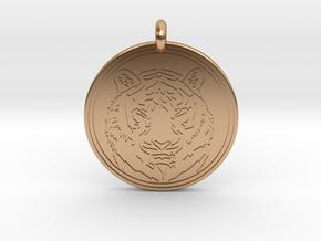 Tiger Animal Totem Pendant 2 in Polished Bronze