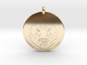 Tiger Animal Totem Pendant 2 in 14k Gold Plated Brass