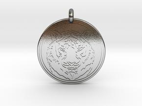 Tiger Animal Totem Pendant 2 in Polished Silver
