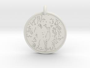 White tail Deer Animal Totem Pendant in White Natural Versatile Plastic