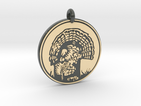 Wild Turkey Animal Totem Pendant in Glossy Full Color Sandstone