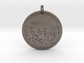 Zebra Animal Totem Pendant in Polished Bronzed-Silver Steel