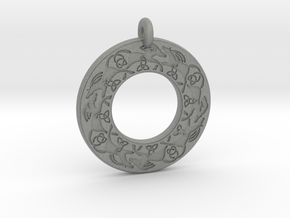Celtic horse Annulus Donut Pendant in Gray PA12