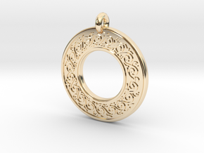 Sacred Tree Annulus Donut Pendant in 14k Gold Plated Brass