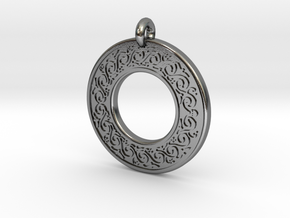 Sacred Tree Annulus Donut Pendant in Polished Silver