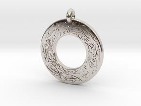Celtic Birds Annulus Donut Pendant in Platinum