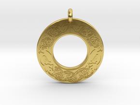 Brigantia Annulus Donut Pendant in Polished Brass