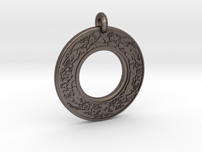 Devine Couple  Annulus Donut Pendant in Polished Bronzed-Silver Steel