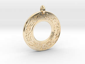 Devine Couple  Annulus Donut Pendant in 14k Gold Plated Brass